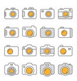 camera flat line icon set vector image vector image