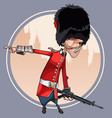 cartoon soldier of the royal guard points a finger vector image vector image