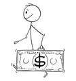 cartoon wealthy successful walking man vector image
