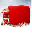 christmas background with santa pulling a huge bag vector image vector image