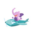 cute baby animal elephant on airplane funny vector image vector image