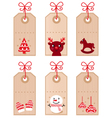 cute christmas retro tags vector image vector image
