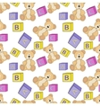 Cute teddy with alphabet toy cubes vector image vector image