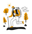 drawing character male tourists in mountain vector image
