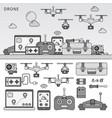drone devices line flat line monochrome vector image vector image