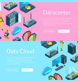 electronic system of data center icons web vector image vector image