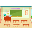 empty classroom class room interior with desk vector image vector image