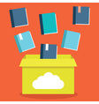 Flat of e-books storage in cloud vector image vector image