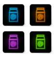 glowing neon coffee beans in bag icon isolated on vector image vector image