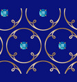golden rings loops and blue gem stones seamless vector image