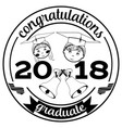 graduation 2018 badge flat template vector image