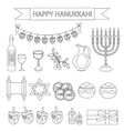 Hanukkah set line icons Chanukah line Icons with vector image vector image