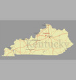 kentucky accurate exact detailed state map vector image vector image