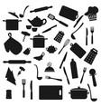 kitchen utensil kitchenware black silhouettes vector image