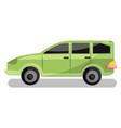 light green family car on white background vector image vector image