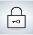 linear lock with key flat icon isolated on modern vector image