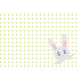 little toy rabbit on white background with dots vector image vector image