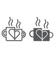 lovely mugs line and glyph icon romantic and love vector image vector image