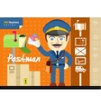 Male postman in uniform with bag holding letter vector image vector image