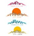 neon city skyline building contours vector image vector image