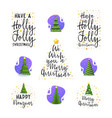 New year and christmas tree slogans modern flat