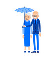 old couple under umbrella an elderly man stands vector image vector image