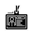personal card black icon concept vector image vector image