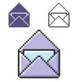 pixel icon open envelope and letter in three vector image vector image