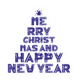 poster with lettering silhouette of christmas vector image
