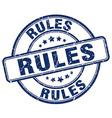 rules blue grunge round vintage rubber stamp vector image vector image
