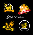 set logo wheat factory or bakery circle vector image