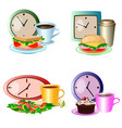 set of lunch break foods clocks and drinks vector image vector image