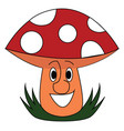 smiling red mushroom on white background vector image vector image
