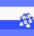 some white puzzles pieces blue - jigsaw vector image vector image