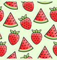 strawberry watermelon seamless pattern vector image vector image