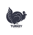 Stylized turkey silhouette graphic logo template vector image