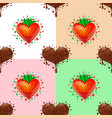sweet hearts pattern chocolate and strawberry vector image