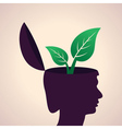 Thinking concept-Human head with leaf icon vector image vector image