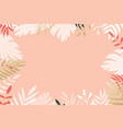 tropical leaves creating border frame vector image vector image