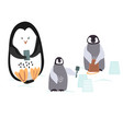 two cartoon penguins are bulding a snowcastle with vector image