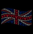 waving great britain flag pattern of biohazard vector image