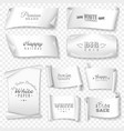 white paper banner icon set vector image