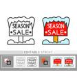 winter wood signboard season sale linear icon vector image vector image