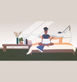 woman freelancer sitting on bed using laptop stay vector image vector image