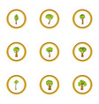 wood icons set cartoon style vector image vector image