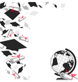 Graduate Caps with Diplomas and Globe vector image