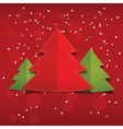 Christmas card new year tree with snowflakes on vector image