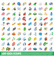 100 idea icons set isometric 3d style vector image vector image