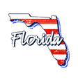 american flag in florida state map grunge style vector image vector image