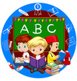 Boys reading books together vector image vector image